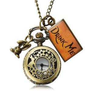 ふしぎの国のアリス Drink Me 白うさぎ 時計 ネックレス ディズニー キャラクター コスプレ 仮装 グッズ|acomes