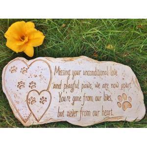 ペット メモリアル グッズ 犬 お墓 墓石 Missing your unconditional love and playful paws we are now apart… 年賀状 戌年|acomes