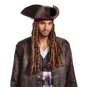 パイレーツ・オブ・カリビアン 最後の海賊 グッズ ジャックスパロウ 被り物 大人 海賊 帽子 コスプレ 仮装 メンズ|acomes