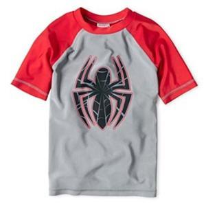 ラッシュガード 水着 子供 キッズ 男の子 スパイダーマン グレー/赤 ヒーロー Marvel キャラクター|acomes