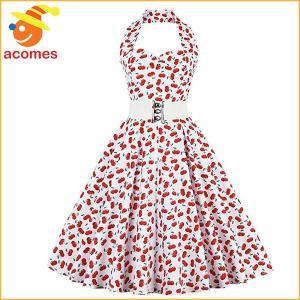 レトロ ドレス オールディーズ 衣装 ヴィンテージ ホルタードレス チェリー フローラル スウィングドレス カクテルドレス 50年代 ダッパー デイ|acomes