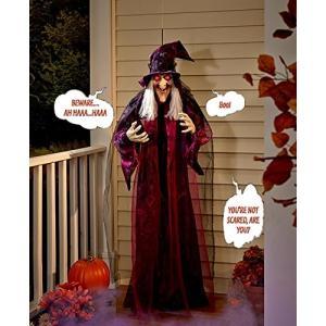 話す 魔女 人形 置き物 180cm ハロウィン インテリア お化け屋敷 ホラー デコレーション 飾り 装飾|acomes