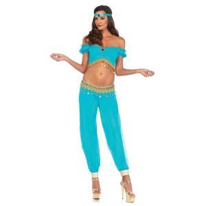中東 ベリーダンス ドレス 衣装 青 ターコイズ セクシー 女性 レディース コスプレ コスチューム ジャスミン かわいい魔女ジニー ジーニー acomes