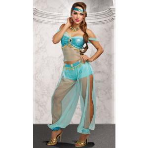 ベリーダンス ドレス 中東 衣装 ショーパン 青 ターコイズ セクシー 女性 レディース コスプレ コスチューム ジャスミン かわいい魔女ジニー ジーニー acomes