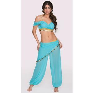 中東 ベリーダンス 衣装 ドレス 青 ターコイズ セクシー 女性 レディース コスプレ コスチューム ジャスミン かわいい魔女ジニー ジーニー acomes