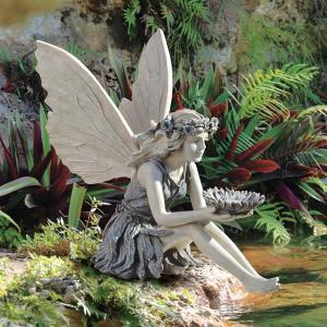 ひまわり 妖精 アート 彫刻 ホーム インテリア エクステリア 屋外 庭 ガーデン 飾り 石像 オブジェ acomes