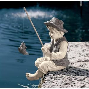 釣りをする少年 池 噴水 アート 彫刻 ホーム インテリア エクステリア 屋外 庭 ガーデン 飾り 石像 オブジェ acomes