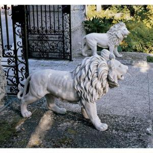 動物 ライオン 2匹 セット 玄関 ゲート アート 彫刻 ホーム インテリア エクステリア 屋外 庭 ガーデン 飾り 石像 オブジェ acomes