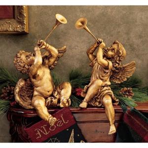 トランペット 天使 ブロンズ セット アート 彫刻 ホーム インテリア エクステリア 屋外 庭 ガーデン 飾り 石像 オブジェ acomes