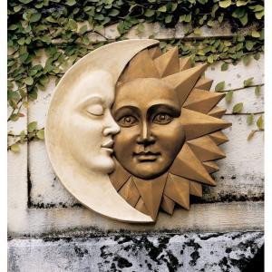 太陽と月 壁掛け ウォール アート 彫刻 ホーム インテリア エクステリア 屋外 庭 ガーデン 飾り 石像 オブジェ acomes