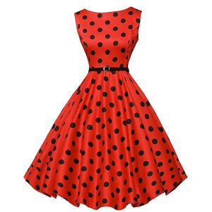 ダッパー ドレス オールディーズ 衣装 レディース ビンテージ ノースリーブ ワンピース レッド&ブラックドット ダッパーデイ|acomes