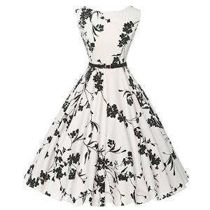 ダッパー ドレス オールディーズ 衣装 レディース ビンテージ ノースリーブ ワンピース ホワイト&フラワー ダッパーデイ|acomes