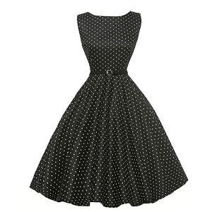 ダッパー ドレス オールディーズ 衣装 レディース ビンテージ ノースリーブ ワンピース ブラック&ホワイトドット ダッパーデイ|acomes