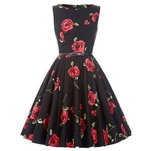 ダッパー ドレス オールディーズ 衣装 レディース ビンテージ ノースリーブ ワンピース ブラック&レッドローズ ダッパーデイ|acomes