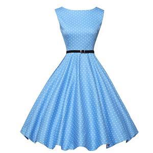 ダッパー ドレス オールディーズ 衣装 レディース ビンテージ ノースリーブ ワンピース ライトブルー&ホワイトドット ダッパーデイ|acomes