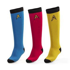 女性向けニーハイソックス3点セット Star Trek公式ライセンスグッズ  素材: 75% コット...