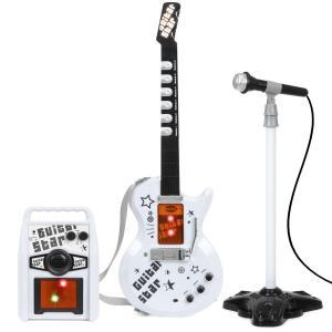 子供 楽器 おもちゃ ギター アンプ マイク セット 白 海外 音楽 玩具 ロック|acomes