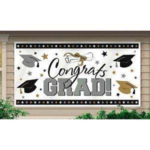 卒業式 グッズ 飾り デコレーション 装飾 バナー プラスチック サイン ゴールド シルバー 165cm x 84cm|acomes