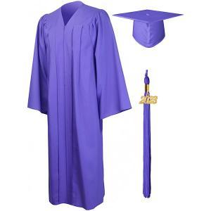 卒業式 スーツ 大人 アカデミック ガウン ローブ 帽子 角帽 セット 2019 チャーム付 紫 パープル 海外 博士 ハロウィン|acomes