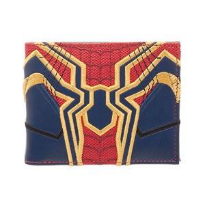 詳細なステッチワークのスパイダーマンがテーマの二つ折り財布です。フェイクレザー製で4つのカードポケッ...