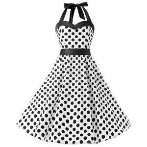 ダッパードレス レトロドレス レディース 水玉 ワンピース ダッパーデイ 1950s ホワイトブラックドット|acomes