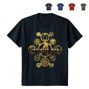 アベンジャーズ/インフィニティ・ウォーの子供用ヒーローゴールドアイコングラフィックTシャツです。  ...