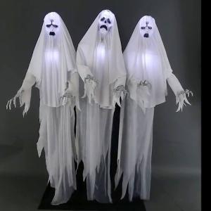 ゴースト 3人組 デコレーション 飾り 不気味な声 光る 動く おばけ ハロウィン パーティ イベント|acomes
