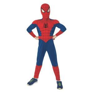 アルティメット・スパイダーマン の筋肉モリモリ の子供用マスク付きデラックスジャンプスーツです。ポリ...