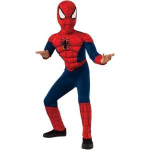 スパイダーマンデラックスファイバーオプティック子供用コスチュームです。マスクと筋肉付きのジャンプスー...