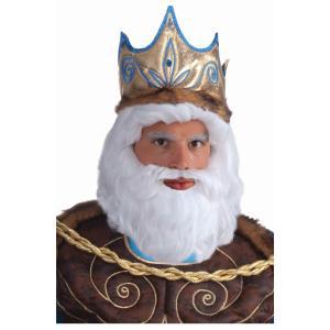 ネプチューン ウィッグ & 口髭 ハロウィン かつら シルバーホワイト ヒゲ コスプレ イベント パーティー 海 王様 トリトン 大人|acomes
