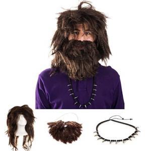 原始人 ウィッグ アクセサリー セット ハロウィン 仮装 コスプレ かつら ひげ ボサボサ 髪 ネックレス イベント パーティー 大人|acomes