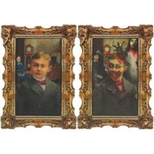 絵が変わる 額 怖い 飾り ゾンビ 少年 ハロウィン デコレーション お化け屋敷 肝試し レンチキュラー|acomes