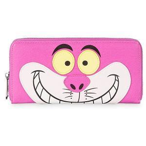 ラウンジフライとディズニーのコラボ、ふしぎの国のアリスのチェシャ猫のデザイン財布です。8枚のカードポ...