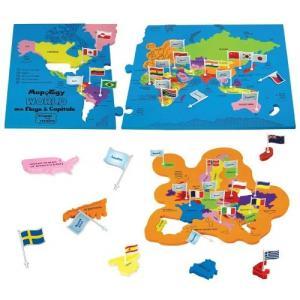 世界地図 パズル 首都 子供 マップ  地理 学習 知育玩具|acomes