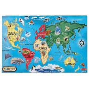 世界地図 パズル 子供 マップ  地理 学習 メリッサ&ダグ 知育玩具|acomes