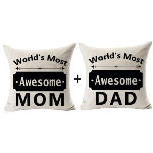 母の日 父の日 ギフト クッション カバー 2セット Awesome Mom Dad acomes