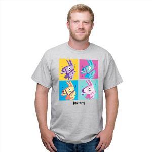 フォートナイト グッズ ラマ グリッド tシャツ グレー テレビゲーム|acomes