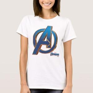 アベンジャーズ エンドゲーム ブルー&ゴールド ロゴ レディース Tシャツ|acomes