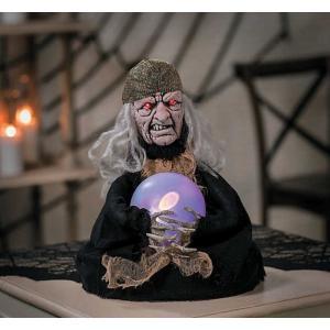 ハロウィン 飾り 動く 光る 魔女 占い師 不気味 怖い 恐怖 デコレーション 装飾 アニマトロニクス acomes