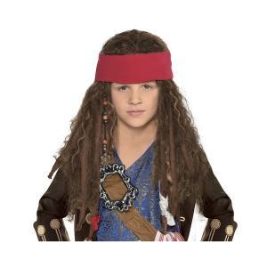 ジャック・スパロウの子供用ウィッグです。赤いバンダナ付きです。ほとんどのお子様にフィットするワンサイ...