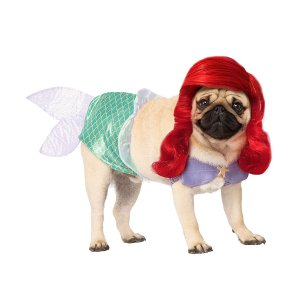 犬 服 アリエル コスプレ ペット 衣装 ドッグ ディズニー コスチューム かつら付き|acomes