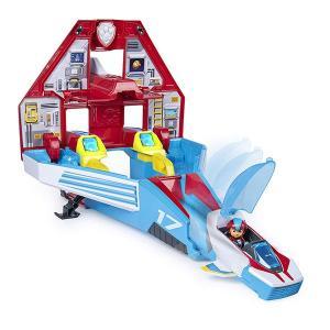 パウパトロール おもちゃ スーパーパウズ 2-in-1 トランスフォーミング マイティパップス ジェットコマンドセンター アクションビークル|acomes