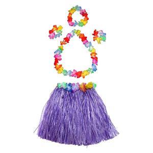 ハワイアン フラガール コスチューム コスプレ 仮装 子供 フラダンス 衣装 紫