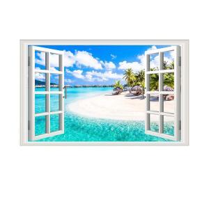 ウォールステッカー おしゃれ 窓 トロピカル ビーチ 海 景色 壁 インテリア 簡単 シール|acomes