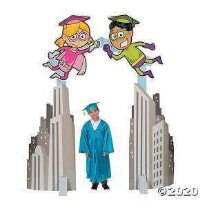 卒業式 小学校 アーチ 道 入口 入場 退場 飾り デコレーション ビル群&スーパーヒーロー|acomes