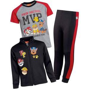 パウパトロール グッズ 子供 服 男児 ジャケット Tシャツ スウェットパンツ 3セット ブラック|acomes