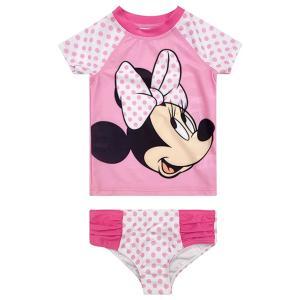 ミニーマウス  グッズ  子供用 水着セットラッシュガード ショーツ 水着 女の子 ピンク ミニーちゃん ビーチ|acomes