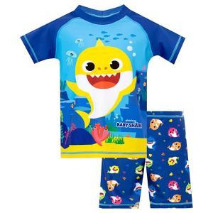 ベイビーシャーク 子供用 水着セットラッシュガード ショーツ  水着 男の子 ブルー Pinkfong サメ Baby Shark|acomes