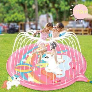 プール 家庭用 水遊び おもちゃ 噴水 シャワー キッズ スプラッシュ パッド ユニコーン ピンク プレイマット ベビープール|acomes