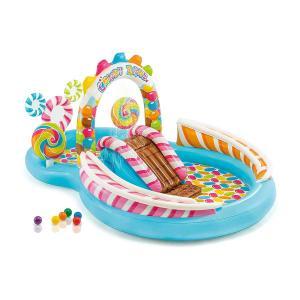 プール 家庭用 IntexCandyZone インフレータブル プレイセンター ビニール プール 子供用 水遊び シェード 付き 家庭用 プール|acomes